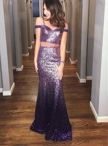 Two Piece Spaghetti Straps Sequined Ombre Purple Prom Dresses OP460
