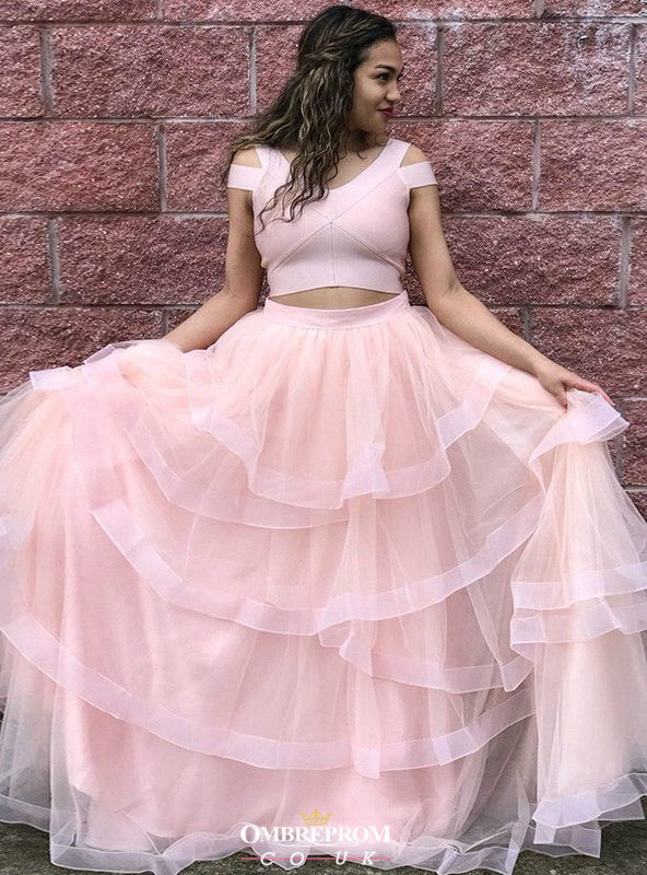 Two Piece V-neck Tulle Pink Prom Dress, Princess Sweet 16 Dress With Layered OP540