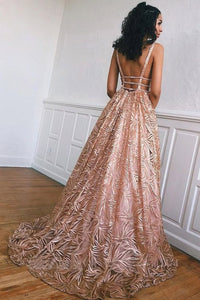 Unique Backless Long Evening Dress, Sexy A-line Prom Gown UK OP559