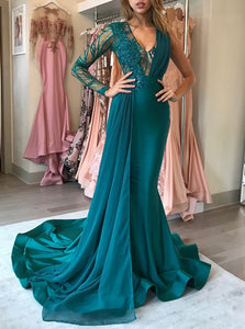 Unique One-Long Sleeves Mermaid Hunter Prom Dress V-Neck with Appliques OP384