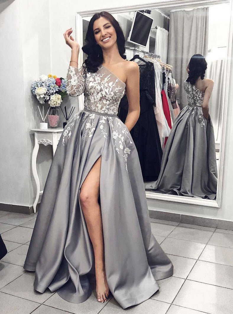 Unique One-Shoulder Long Sleeves Appliques Gray Prom Formal Dress With Split OP333