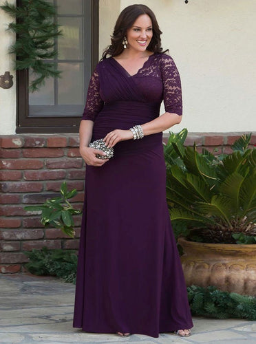V-Neck Ruched Half Sleeves Chiffon Mother Of The Bride Plus Size Prom Dresses with Lace MO103