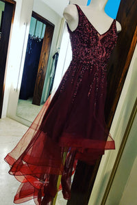 V-neck High Low Asymmetry Burgundy Prom Dress with Beading OP493