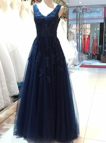 Dark Navy V Neck Tulle Long Prom Dress With Beading Appliqued OP730