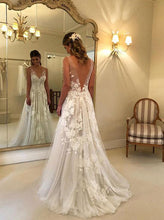 V neck Tulle Lace Appliques Long Beach Backless Wedding Dress OW333