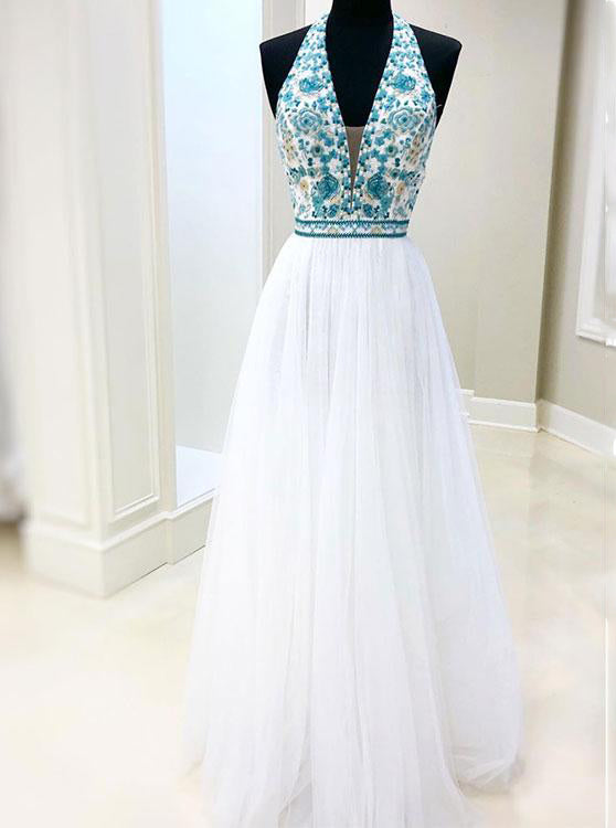 White Chiffon Long Prom Dress V neck With Blue Beaded Bodice Dress OP415