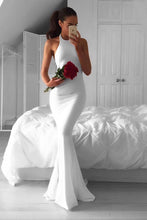 White Mermaid Halter Prom Dress, Elegant Backless Evening Dress OP595
