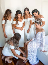 White Off Shoulder Bridesmaid Dresses Simple Tea-Length Wedding Party Dresses OB199