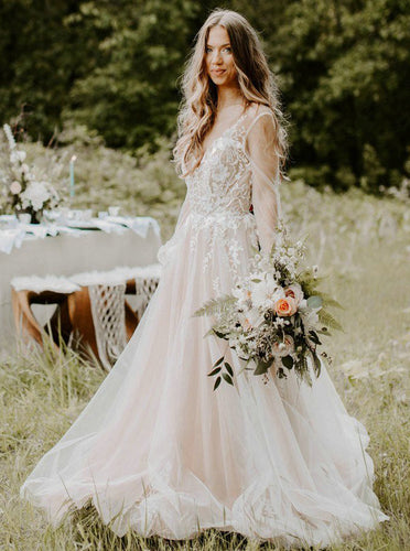 Romantic V-neck Boho Long Sleeve Country Wedding Dresses Applique Backless Bridal Dress OW663