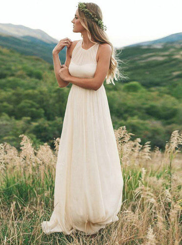 Simple Chiffon Long Pleated Wedding Dress Round Neck Sleeveless Bridal Dress OW664