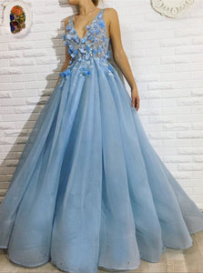 Sky Blue Long Sleeve V-neck Appliques Prom Dresses Organza Formal Party Dress PO237