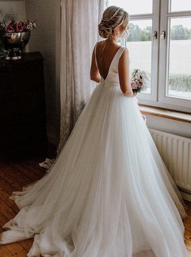 Elegant Round Neck V-back Tulle Ivory Wedding Dresses With Bowknot OW665