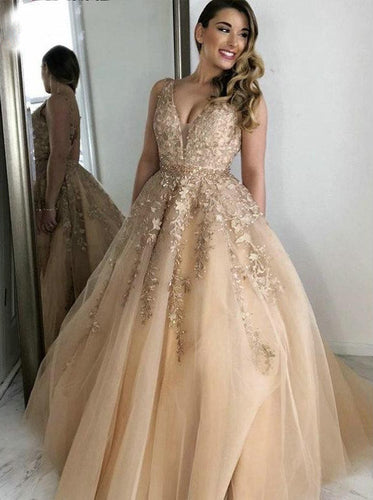 Elegant V-Neck Lace Applique Beading Tulle Prom Evening Dresses PO233