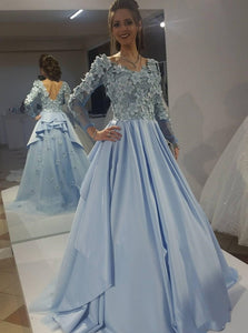 Stunning Sky Blue Long Sleeve Prom Dresses, Long Formal Evening Dress PO236