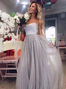 Sparkly Beading Long Prom Dresses Sweetheart Tulle Evening Gowns PO235