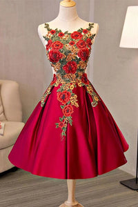 Pretty Short Satin A-line Lace Up Homecoming Dresses With Embroidered Appliques Ob924