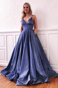 Modest Spaghetti Straps Blue V-neck Long Party Prom Dresses With Pockets OM921