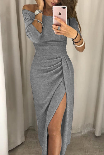 Simple Half Sleeves Fashion Gray Prom Dresses Casual Dress Y0924