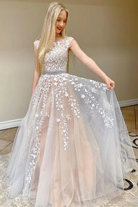 Chic Pretty Long A-line Scoop Neckline Backless Princess Prom Dresses With Lace Appliques PO918