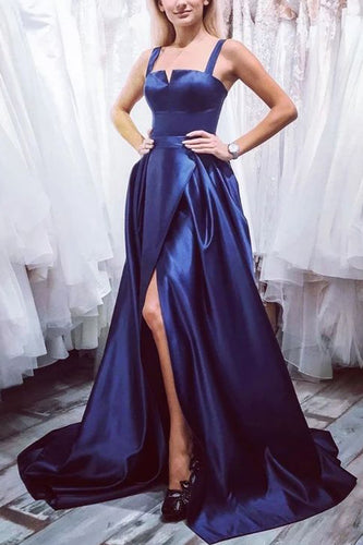 Front Split Long Simple Style Dark Blue Prom Dresses For Teens P917