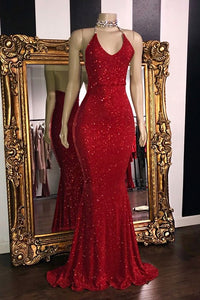 Glitter Sheath Mermaid Backless Halter Beading Long Party Prom Dresses OMB9