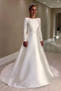 Vintage Long Sleeves Ivory Backless Simple Style Wedding Dresses With Bowknot OW691