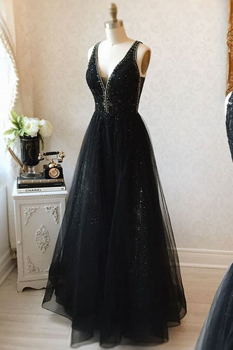 V-neck Black Floor Length Long Prom Dresses Modest Party Gowns OD99