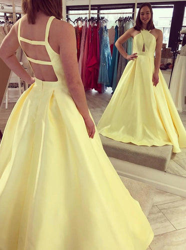 Yellow Long Prom Dress Keyhole Criss-Cross Neckline with Open Back OP674