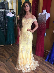 Yellow Long Prom Dress Lace Off The Shoulder Sheath Party Dress OP416