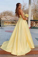 Yellow Long Prom Dress With Beaded Pockets, Backless Evening Dress OP658
