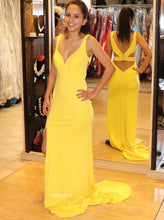 Yellow Split Long Prom Dress, Sexy Back Evening Gown with Train OP495