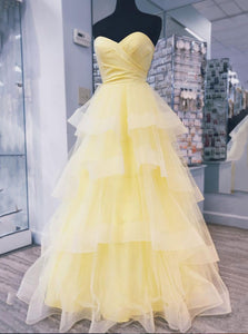 Yellow Sweetheart Tulle Long Prom Dress With Layered Dance Gown OP652