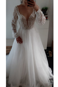 Sparkle Long Sleeve V-neck Sequins Beach Wedding Dresses Backless Bridal Gown OW542