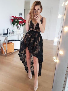 2018 Black Hi-Lo Lace Prom Dress, Sexy Party Dress With Applique, OP137