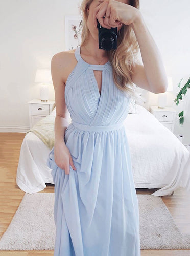 Simple Blue Long Prom Dress Round Neck Chiffon Party Dress OP685