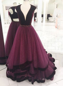 Elegant Grape Long Prom Dress V neck Tulle Formal Evening Gown OP686