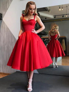 Red Bowknot Straps Short Prom Dress, Cut Out Back Homecoming Dress, OP148