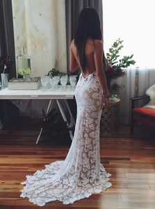 Luxury Halter Lace Appliques Beach Sexy Mermaid Backless Wedding Dress, OW312