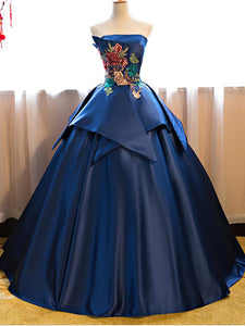 Dark Blue Ball Gown Satin Strapless Floor-length Appliques Long Prom Quinceanera Dress P01