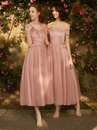 Mix Neckline Designs A/B/C/D Pattern Blush Long Bridesmaid Dresses, OB139