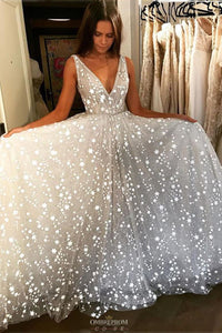 Stunning V-neck Tulle Starry Night Long Prom Wedding Dress OP638