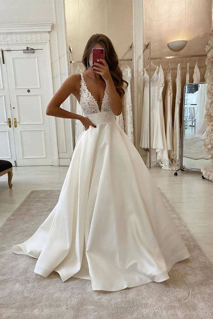 White Deep V Neck Satin Lace Top Long Prom Dress Wedding Dress W707