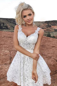 White Short Lace Homecoming Dresses V Neck Appliques Cocktail Dresses OM603