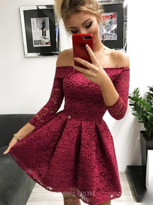 Off-the-Shoulder Long Sleeves Burgundy Lace Homecoming Dress OM184