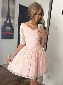 V-neck Half Sleeves Lace Homecoming Dresses Pink Sweet 16 Dresses OM192