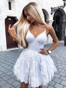 Cute Spaghetti Straps V Neck Lace Appliques Short Prom Party Dress OM185