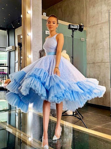 Sparkly Light Blue Bateau Ball Gown Short Backless Prom Dress OM183