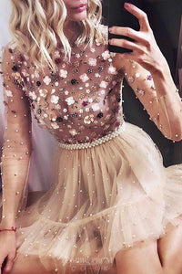 Charming Long Sleeves Beaded Appliques Tulle Short Prom Dresses OM189