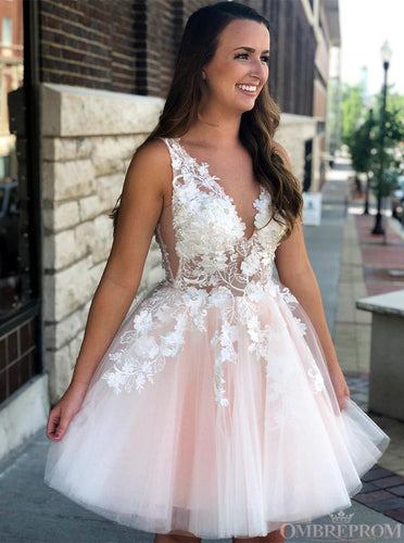 Princess V Neck Pink Short Prom Dresses Tulle With Applique Homecoming Dress OM305