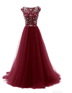 A-Line Beading Bodice Long Tulle Prom Dresses Evening Dresses PO356